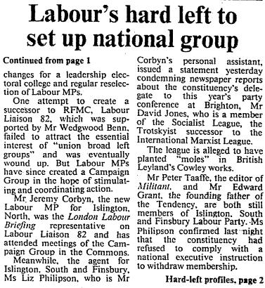 Times 240883 - Labour's hard left to form new group 2
