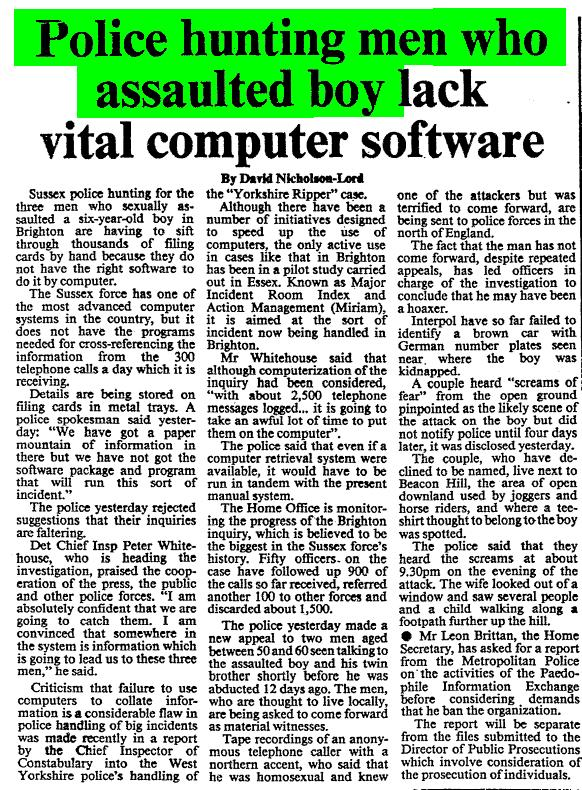 Times 250883 - Police hunting men who assaulted boy lack vital computer software